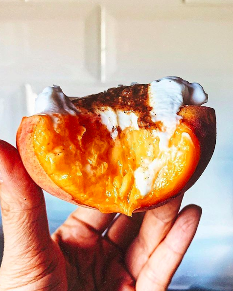 Coconut Yogurt Filled Peach with Almond Butter and Flaky Salt