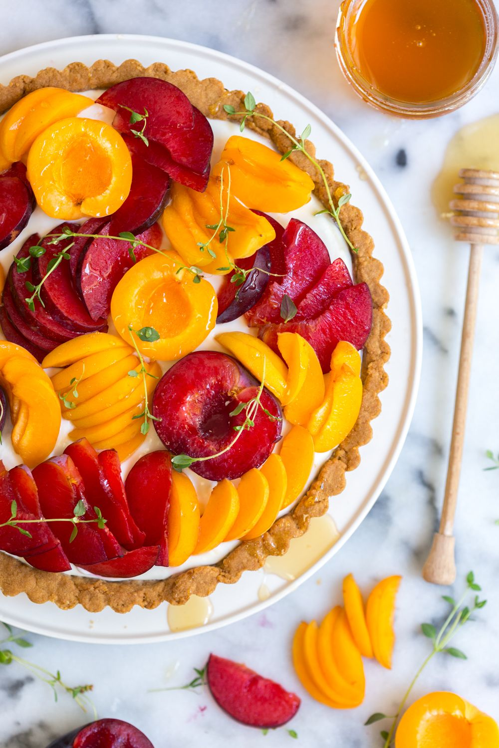 Goat Cheese Tart with Apricots and Plumcots