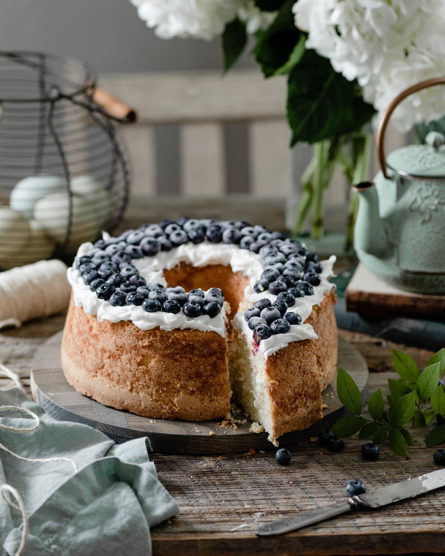 Vanilla Pound Cake with Blueberries