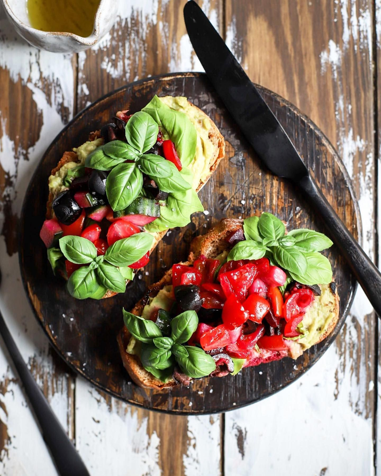 Tomato, Olive and Beetroot Tartines