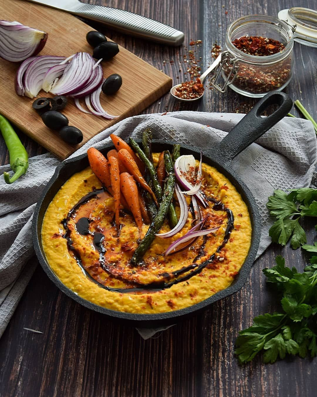 Red Lentil Paté with String Beans and Glazed Carrots