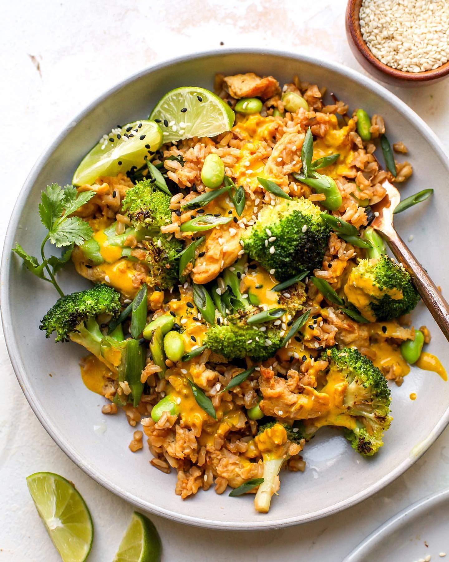 Fried Rice and Broccoli with Turmeric Tahini Sauce