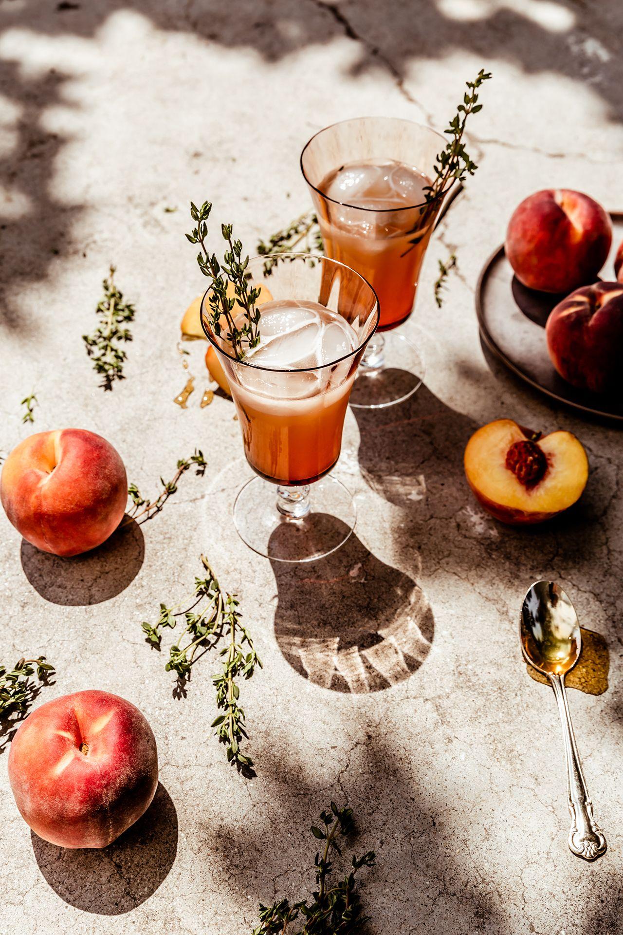 Peach, Honey, Thyme Virgin Spritz