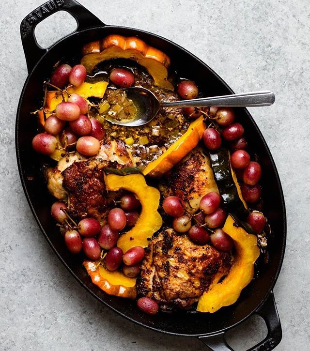 Roast Grapes, Acorn Squash, and Chicken Thighs