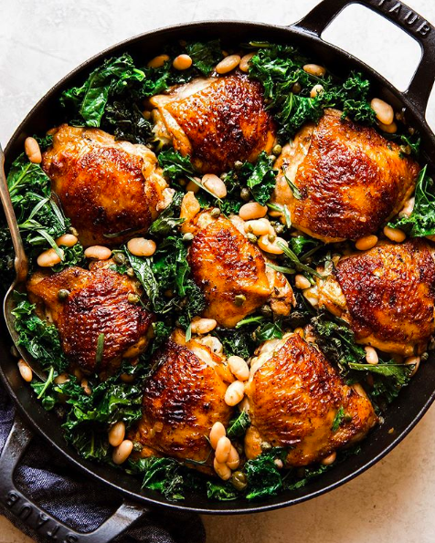 One Pot Braised Chicken with White Beans and Kale