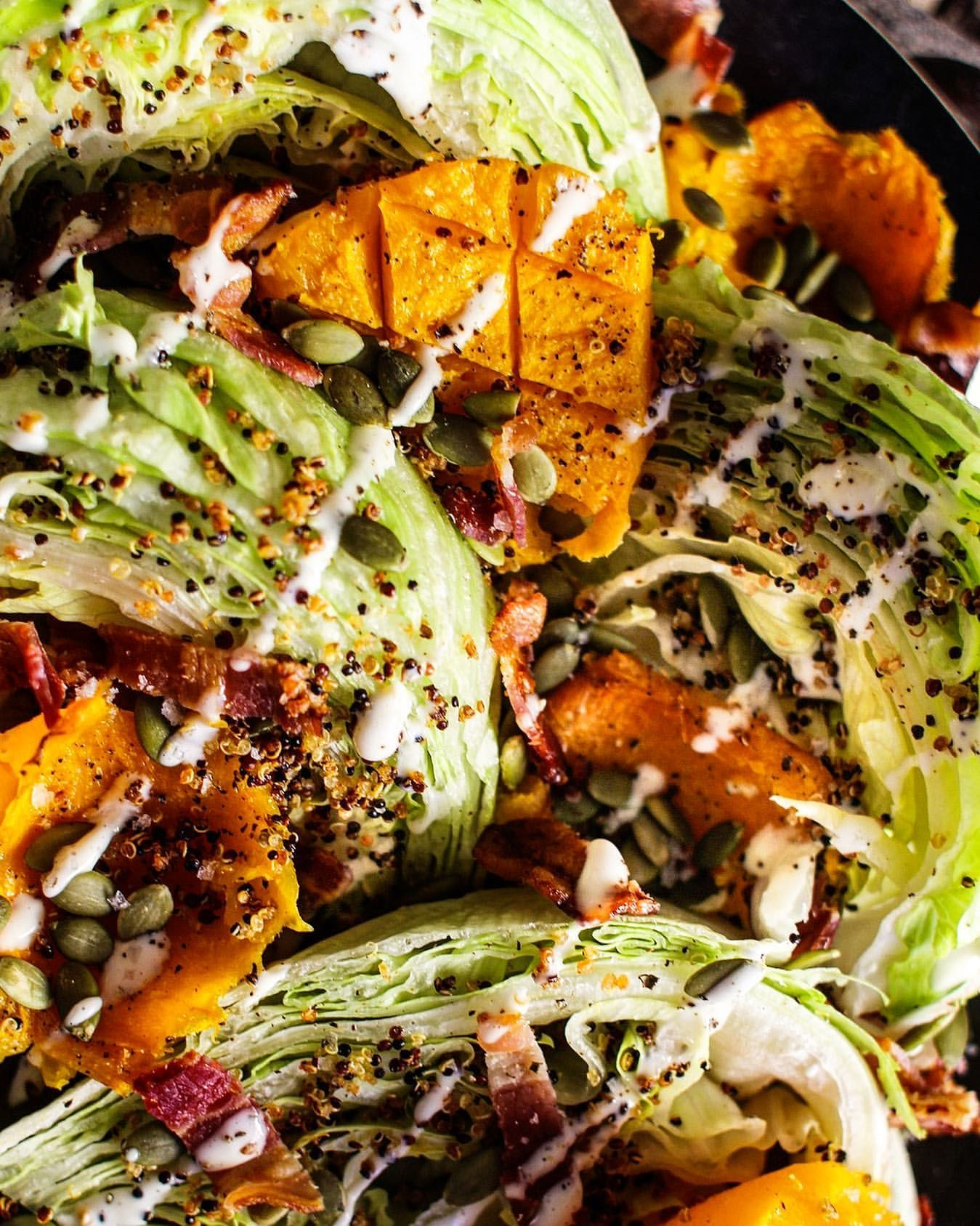 Wedge Salad with Butternut Squash, Bacon and Pepitas