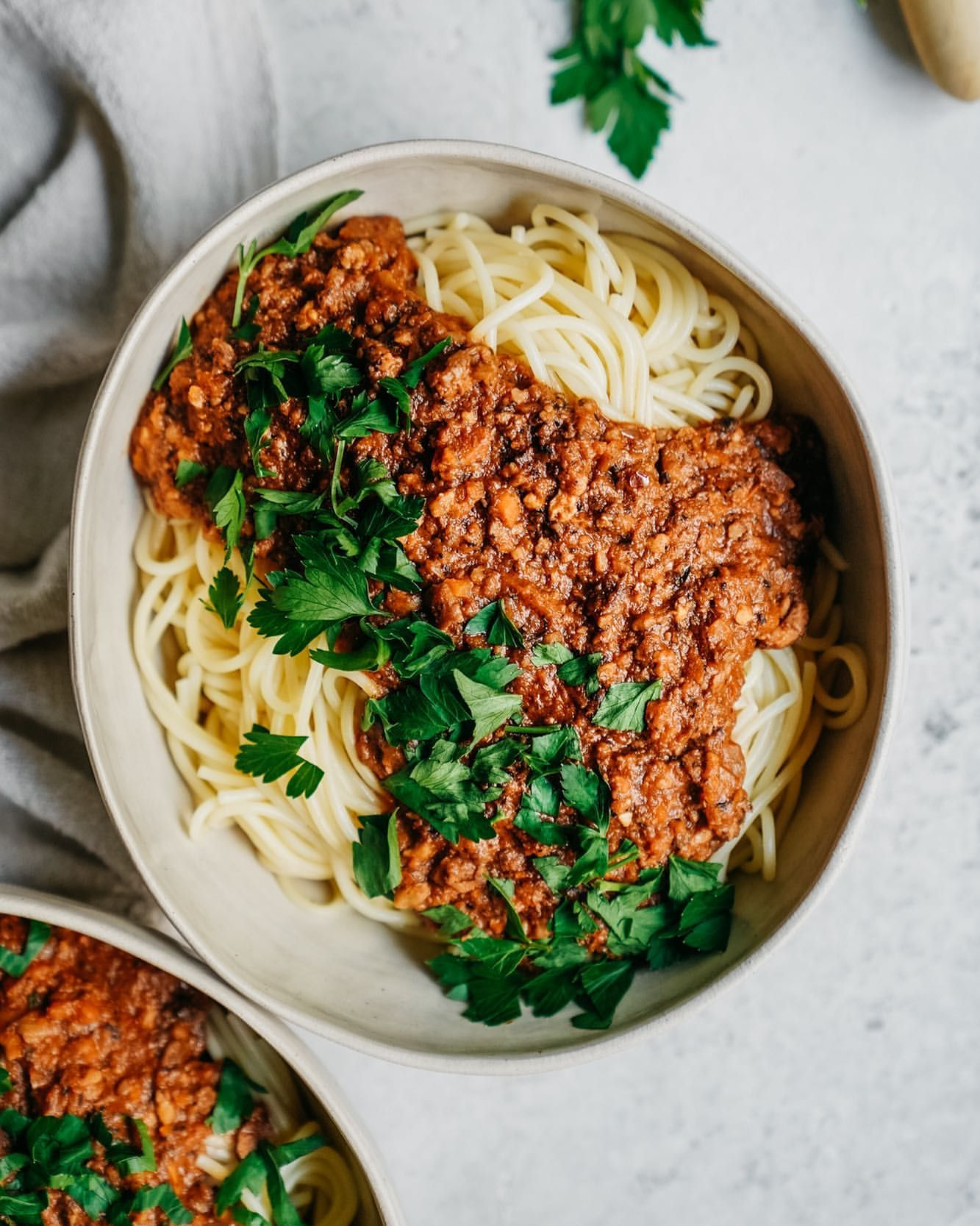 Spaghetti with Mushroom Walnut Sauce