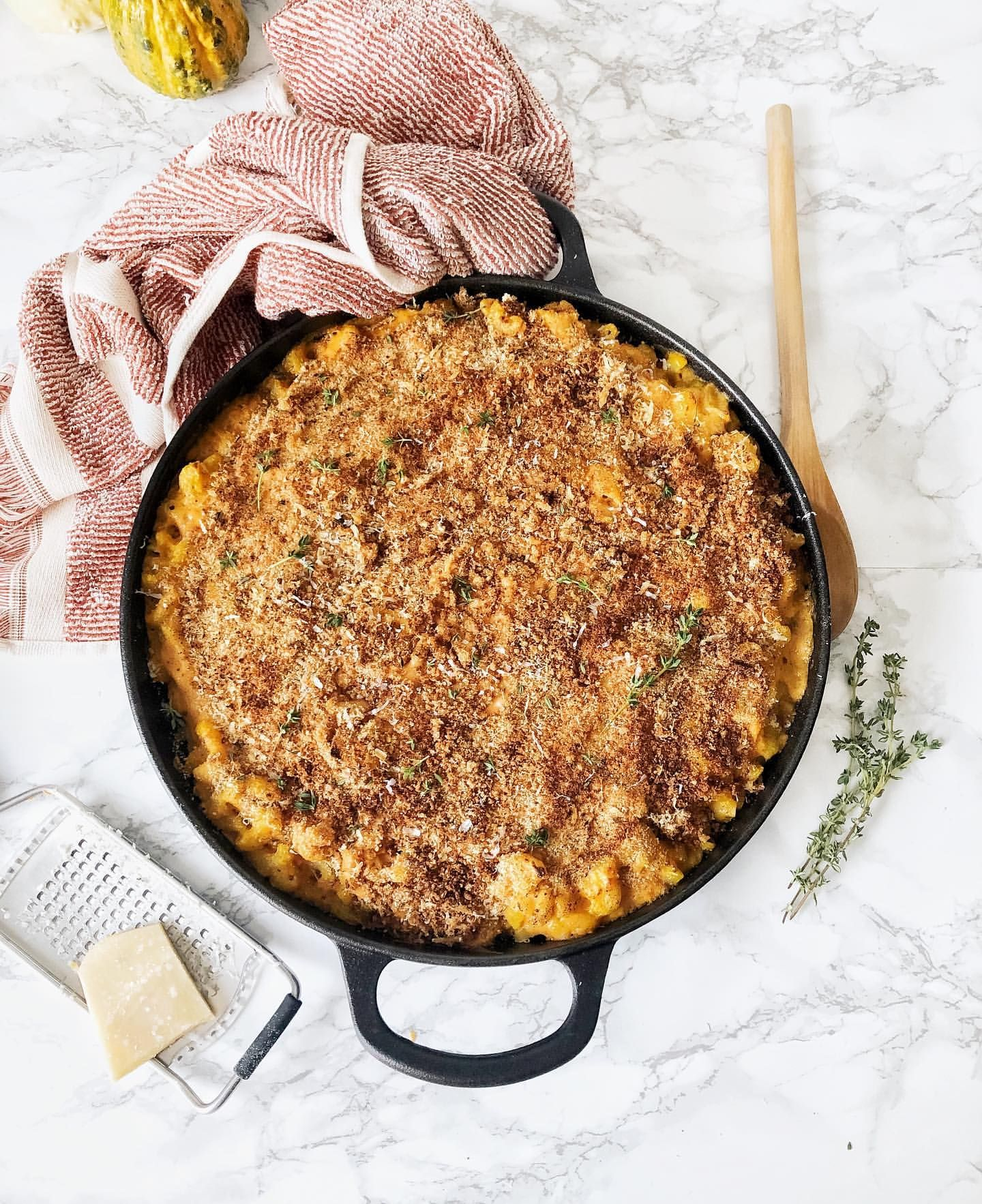 Pumpkin Mac and Cheese with Herb Breadcrumb Topping