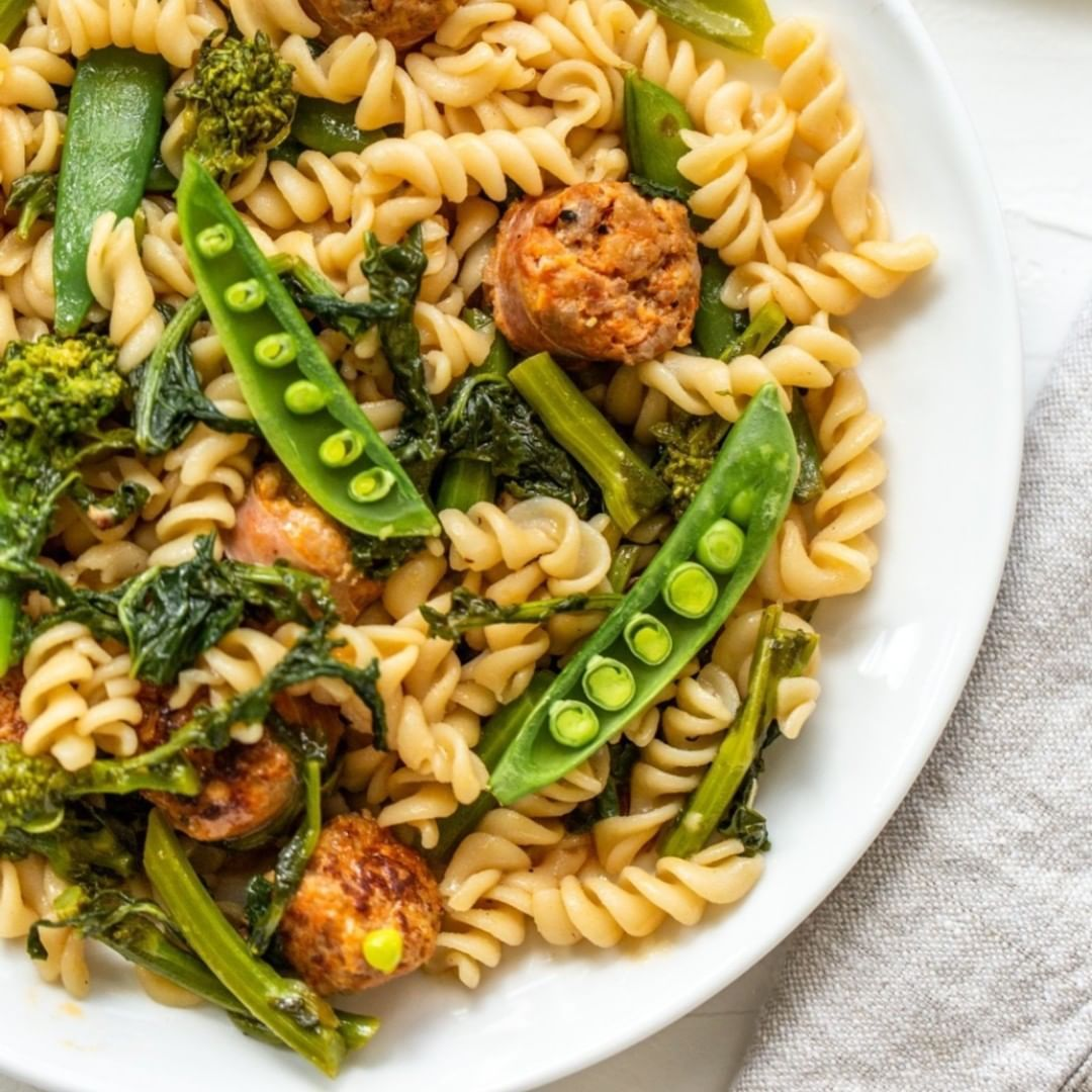 Gluten-Free Rotini with Sausage and Broccoli Rabe in a White Wine Sauce