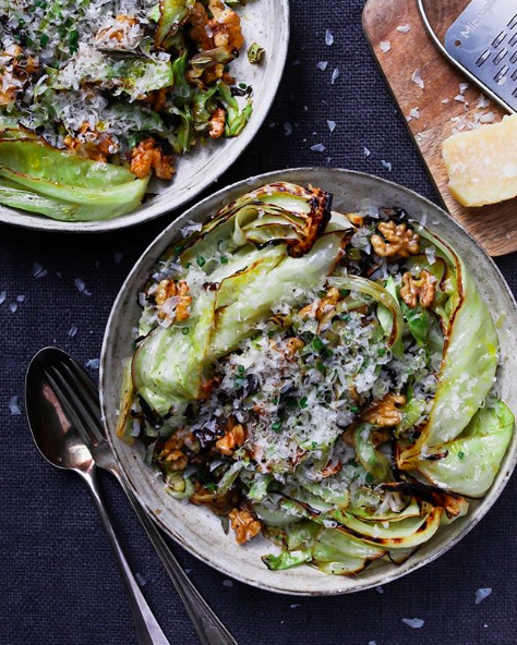 Pan Seared Cabbage with Walnuts, Parmesan and Sage