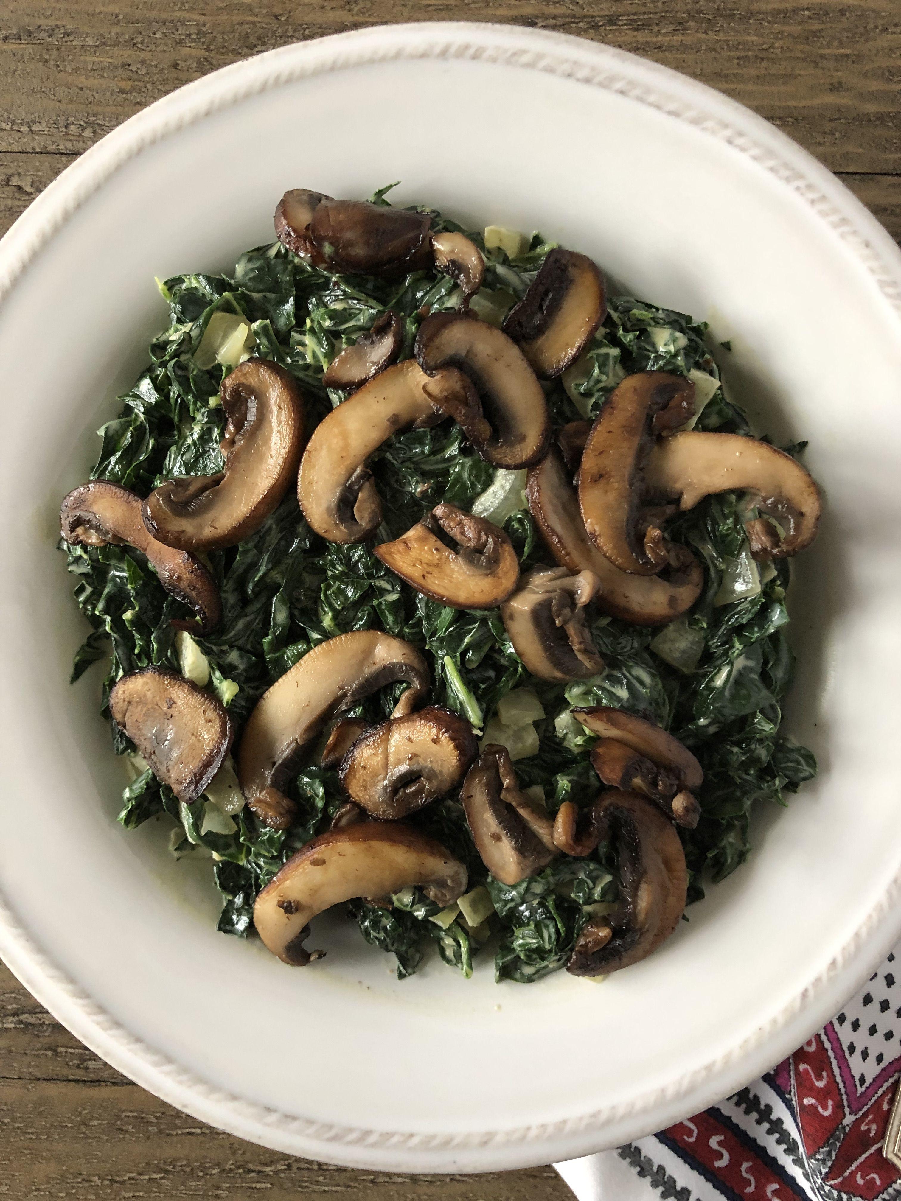Creamed Kale with Crispy Mushrooms