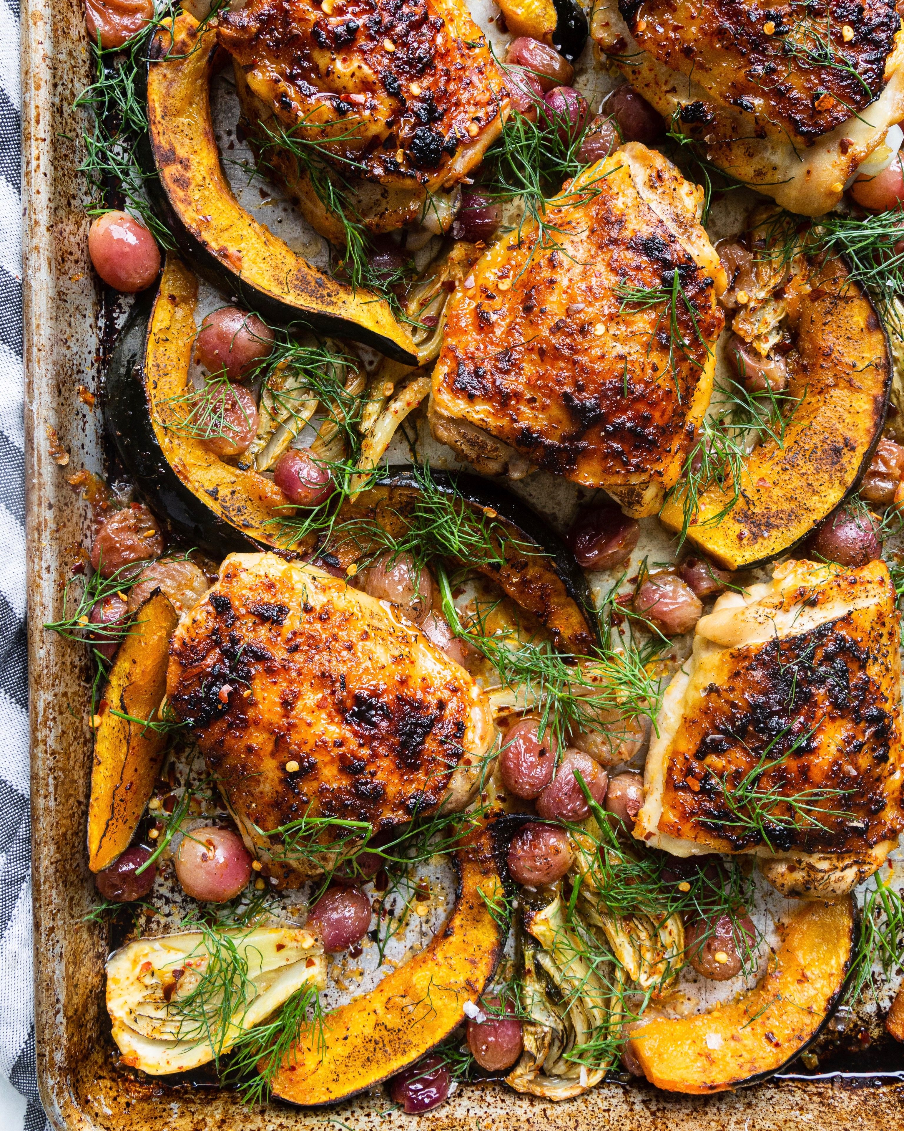 Sheet Pan Maple-Dijon Chicken Thighs with Fennel, Grapes, and Acorn Squash