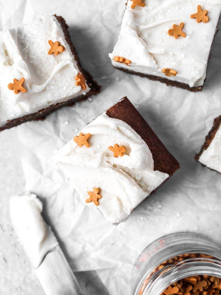 Gingerbread Cookie Bars with Vanilla Frosting