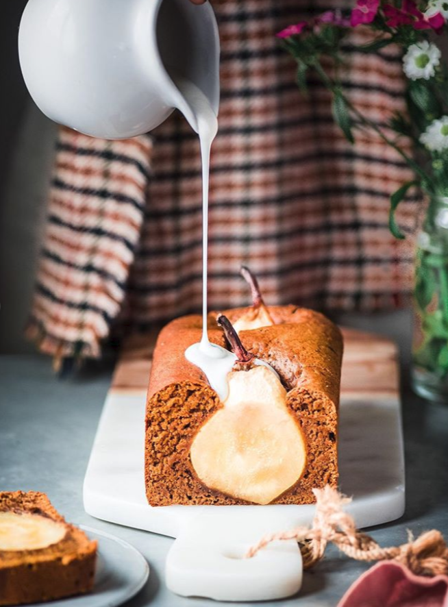Poached Pear Gingerbread Loaf