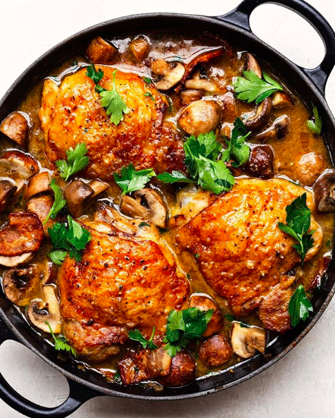 Mushroom, Bacon and Herb Braised Chicken Thighs