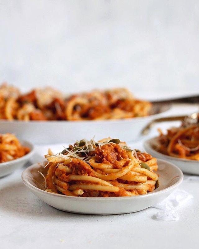 Chorizo and Creamy Pumpkin Bucatini