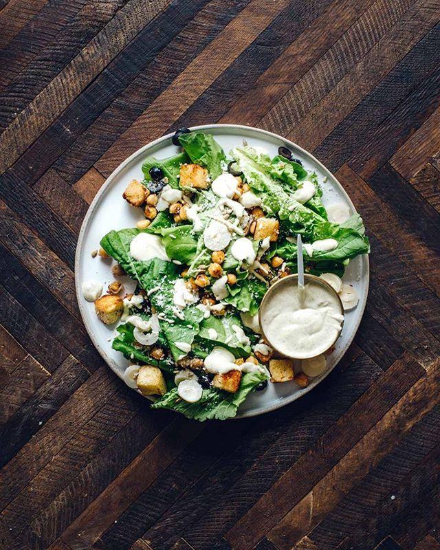 Chickpea Caesar Salad with Tofu Caesar Dressing