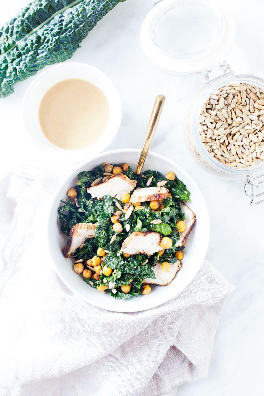 Kale Tahini Caesar Salad with Crispy Chickpeas