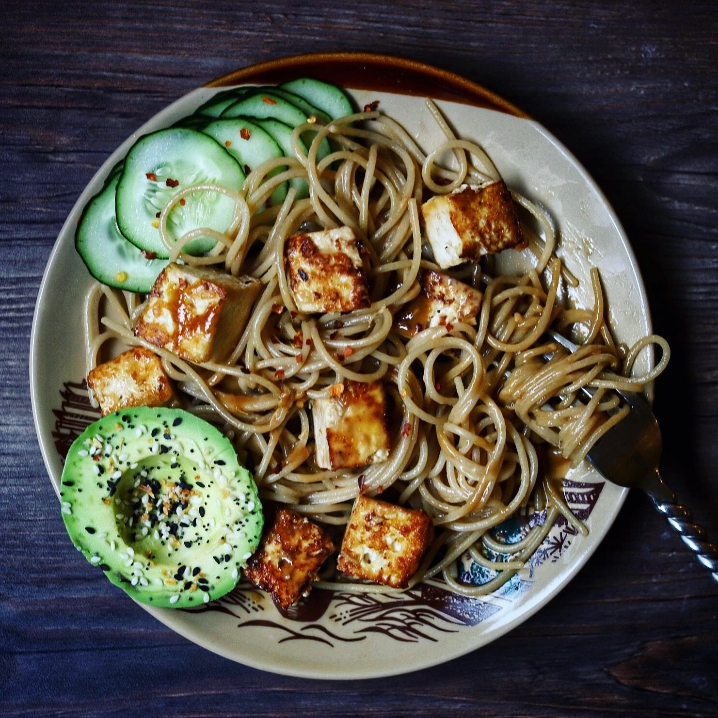 Cold Sesame Noodles with Spicy Tofu and Avocado