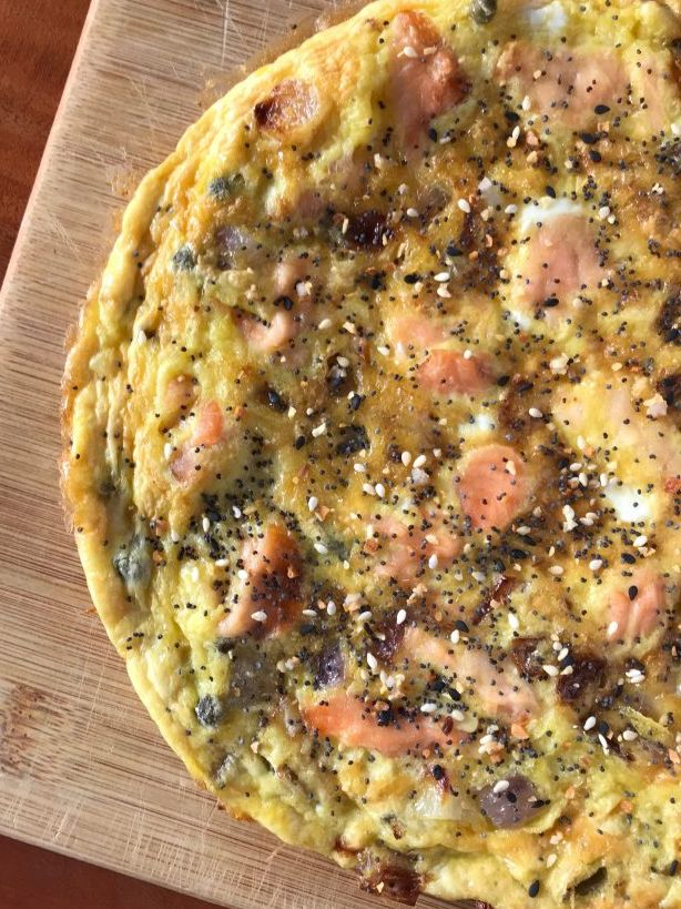 Frittata with Smoked Salmon and Everything Bagel Seasoning