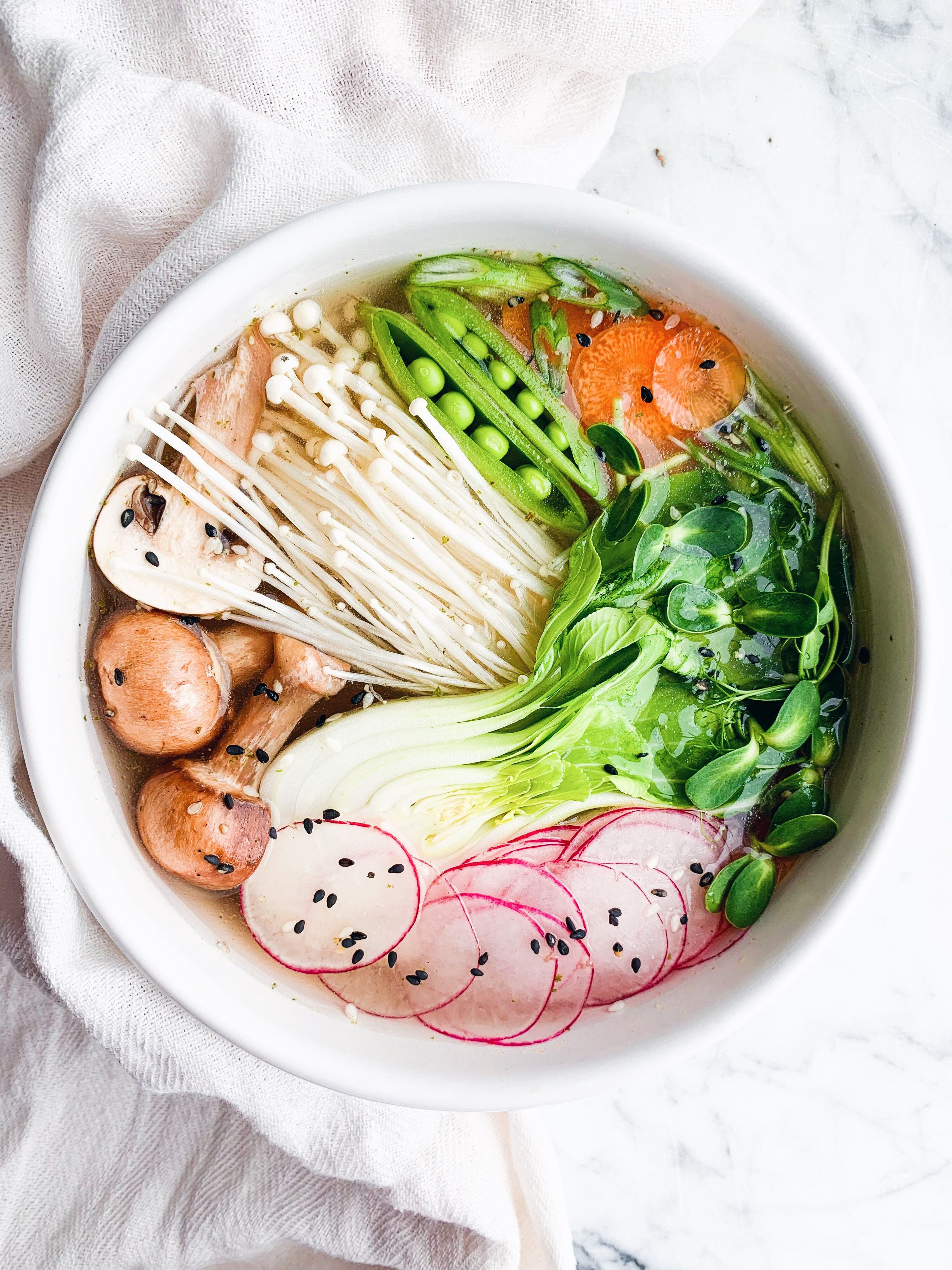 Vegetable Soup with Enoki Mushrooms and Bok Choy