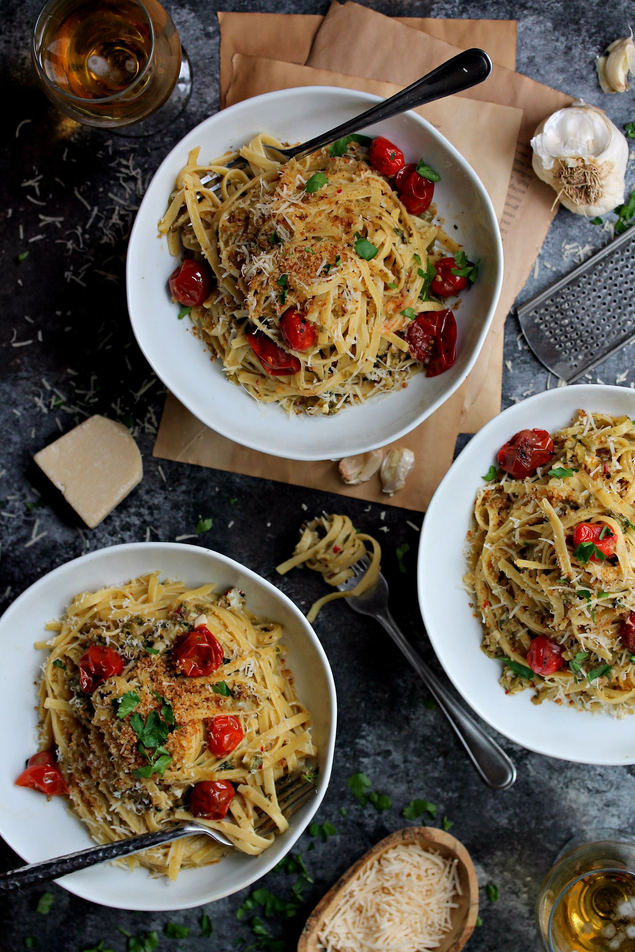 Blistered Tomatoes Caper and Olive Pasta with Fettuccine