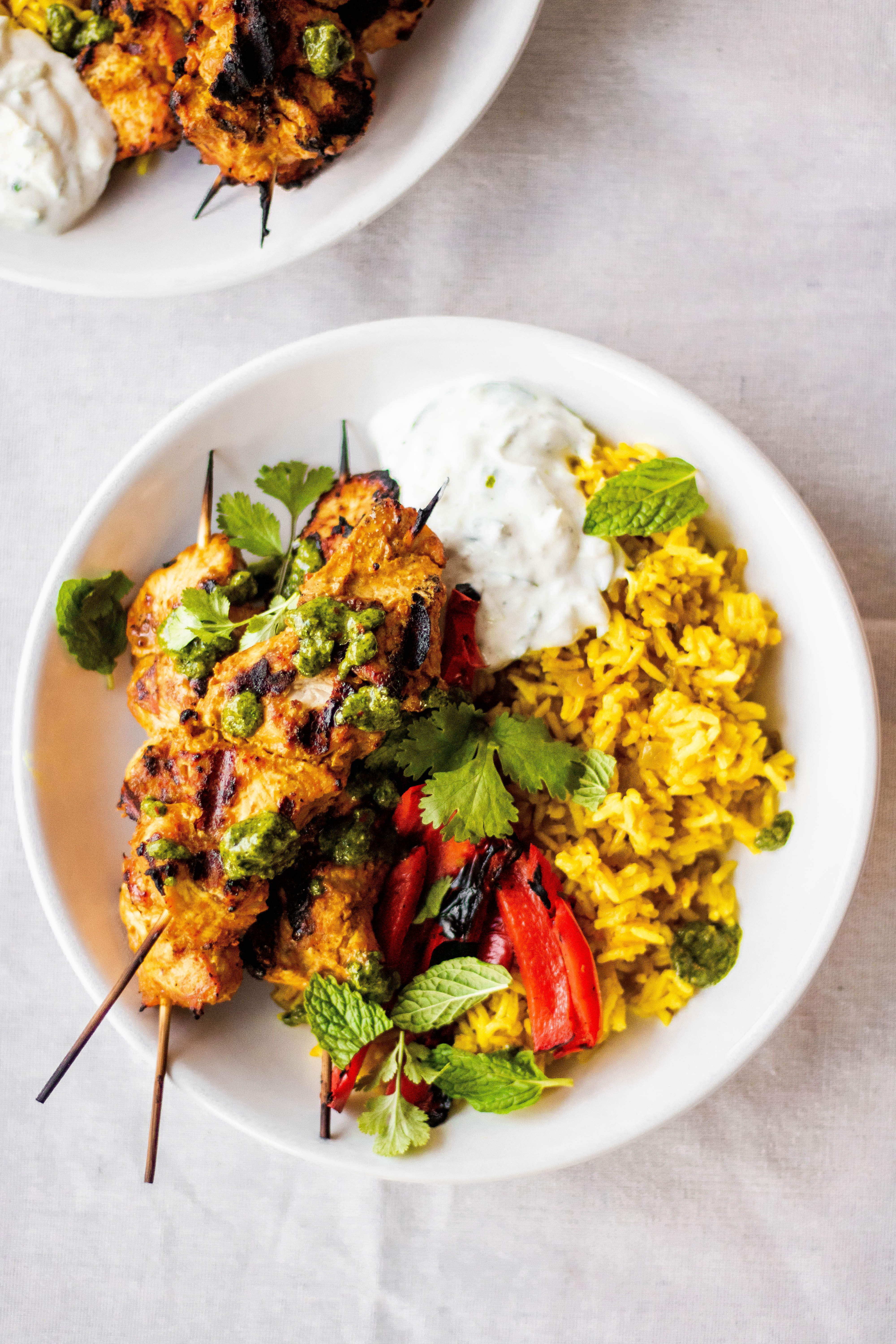 Spiced Chicken Skewers Over Rice