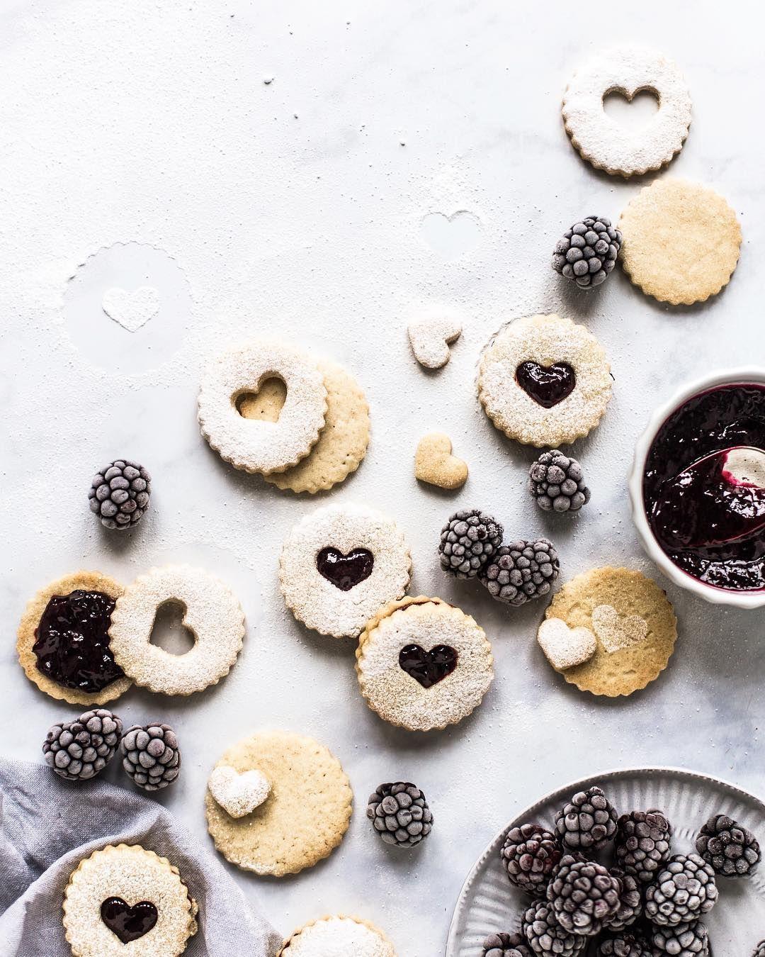 Blackberry Jam Filled Linzer Cookies