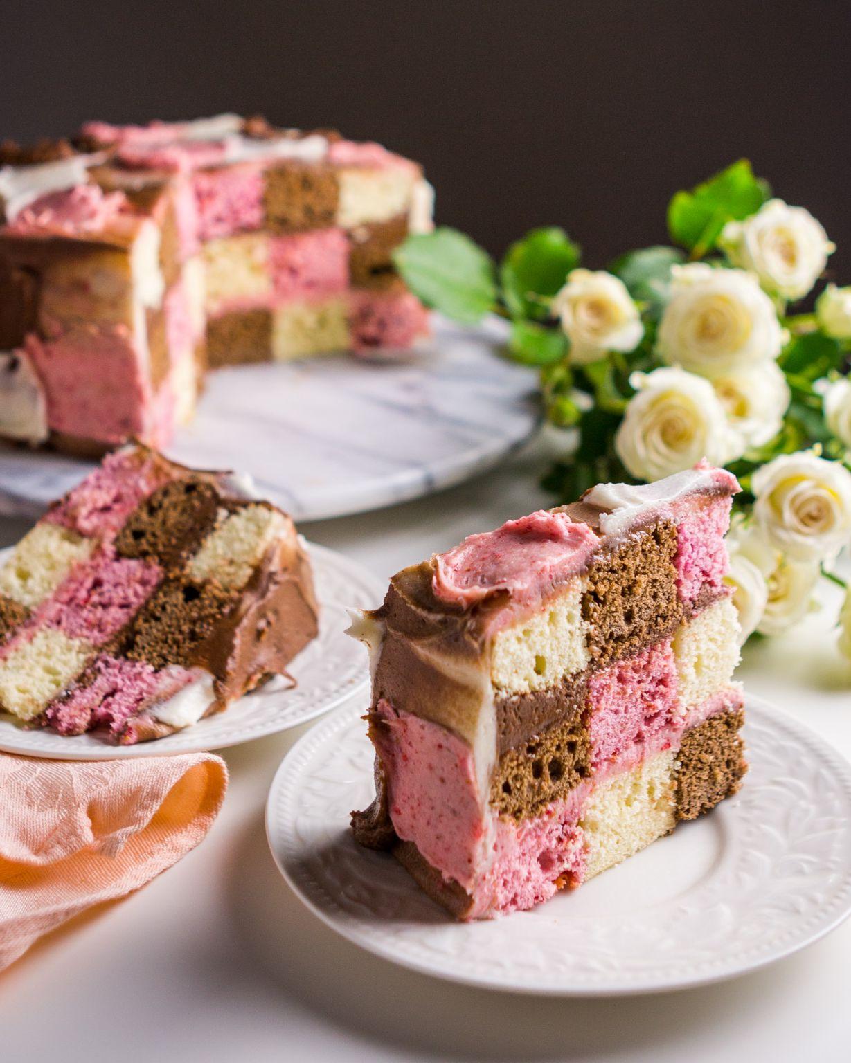 Checkered Neapolitan Cake By Karablakechin Quick Easy Recipe The Feedfeed
