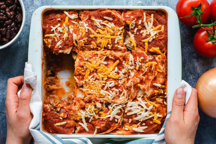 Vegetable Enchilada Lasagna with Zucchini and Mushrooms