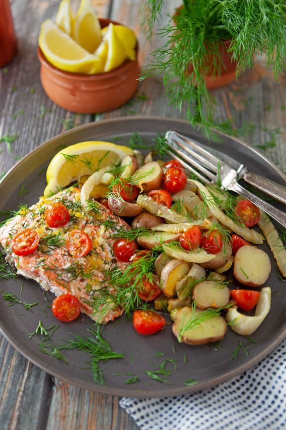 Roasted Salmon with Fennel, Tomatoes and Potatoes