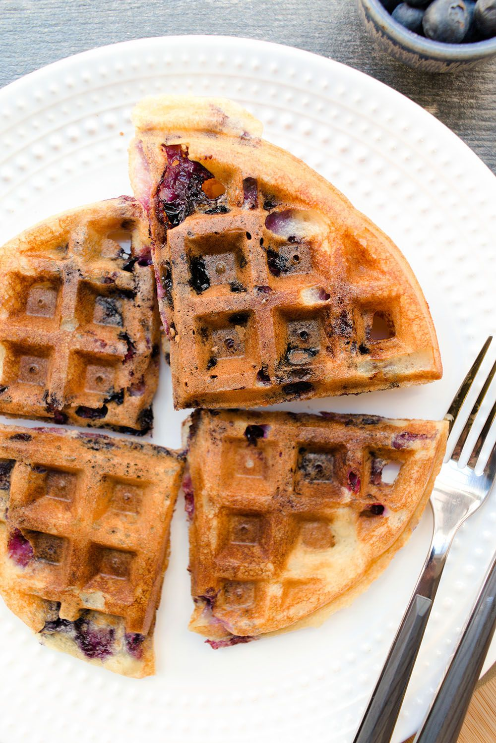 Lemony Sourdough Waffles with Blueberries