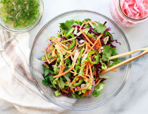 Sweet and Spicy Asian Slaw with Nuoc Cham Dressing