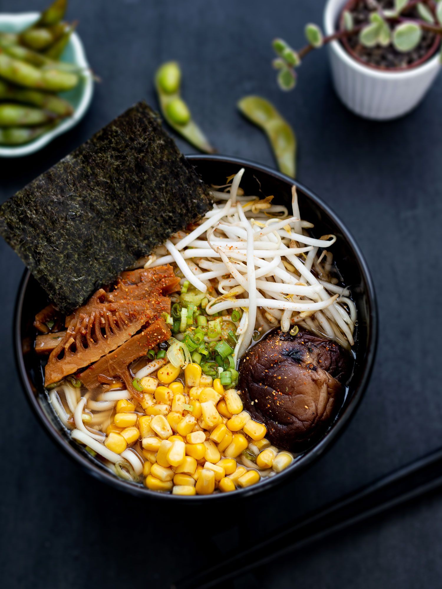 Soy Ramen with Corn, Mushroom and Bean Sprouts