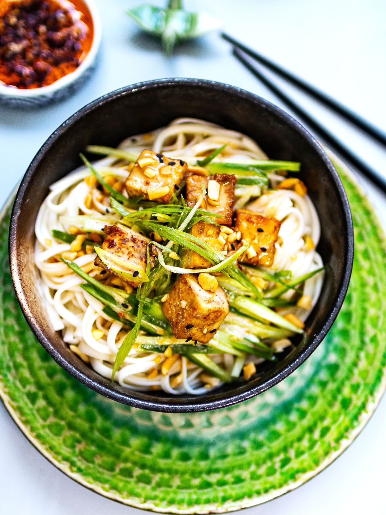 Cold Soba Salad with Tofu and Sesame Dressing