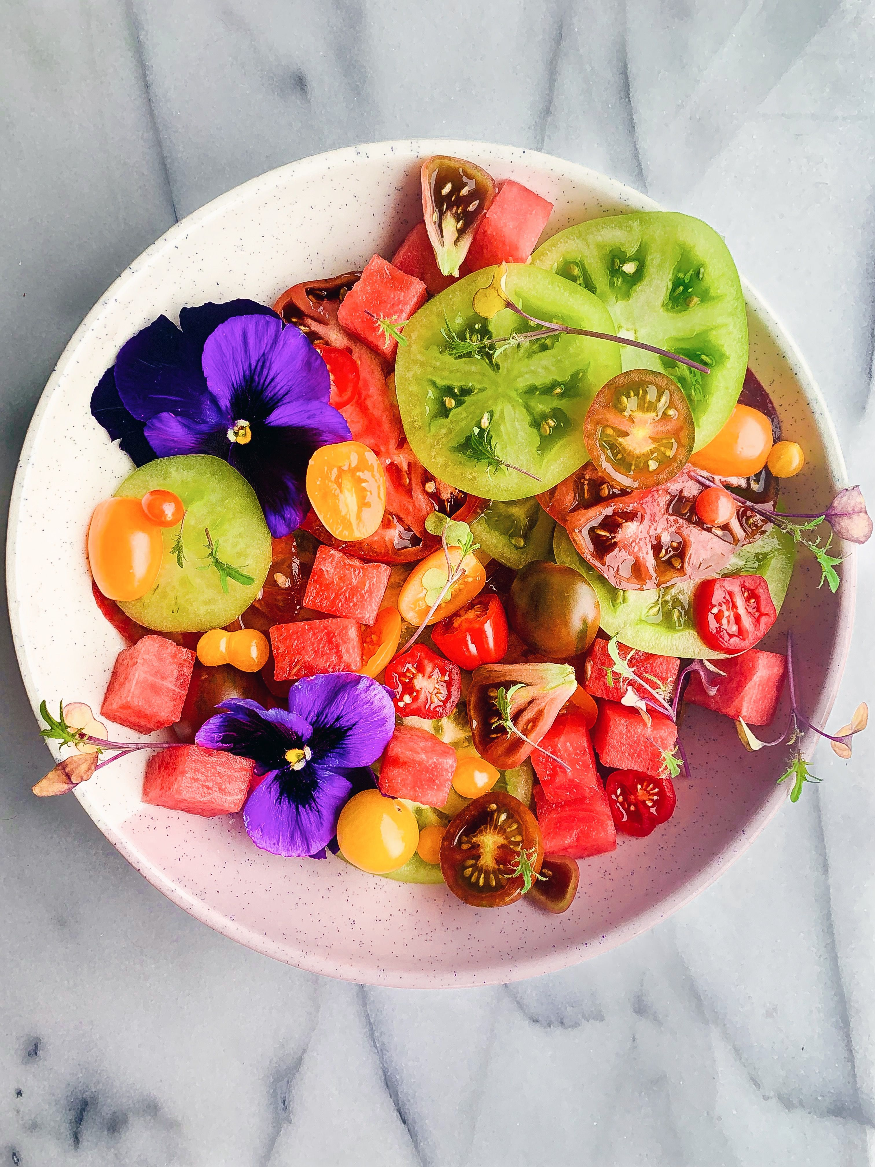 Watermelon, Heirloom Tomato and Lime Salad