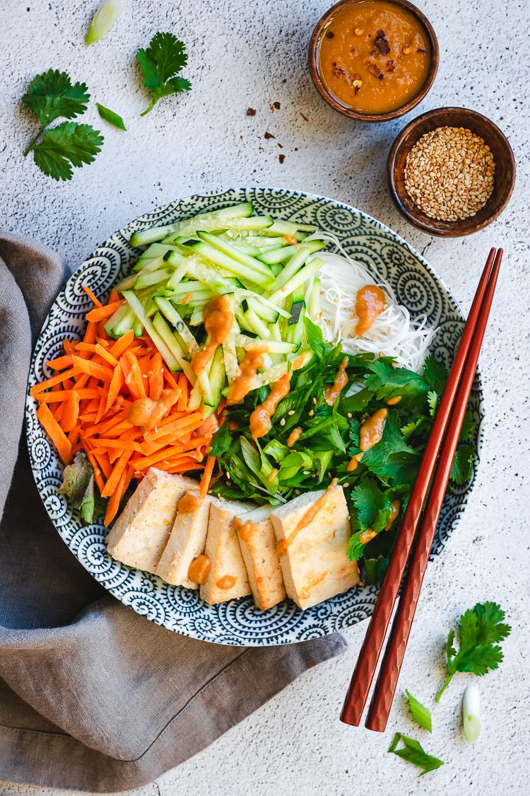Vermicelli Salad with Ginger Lime Tofu