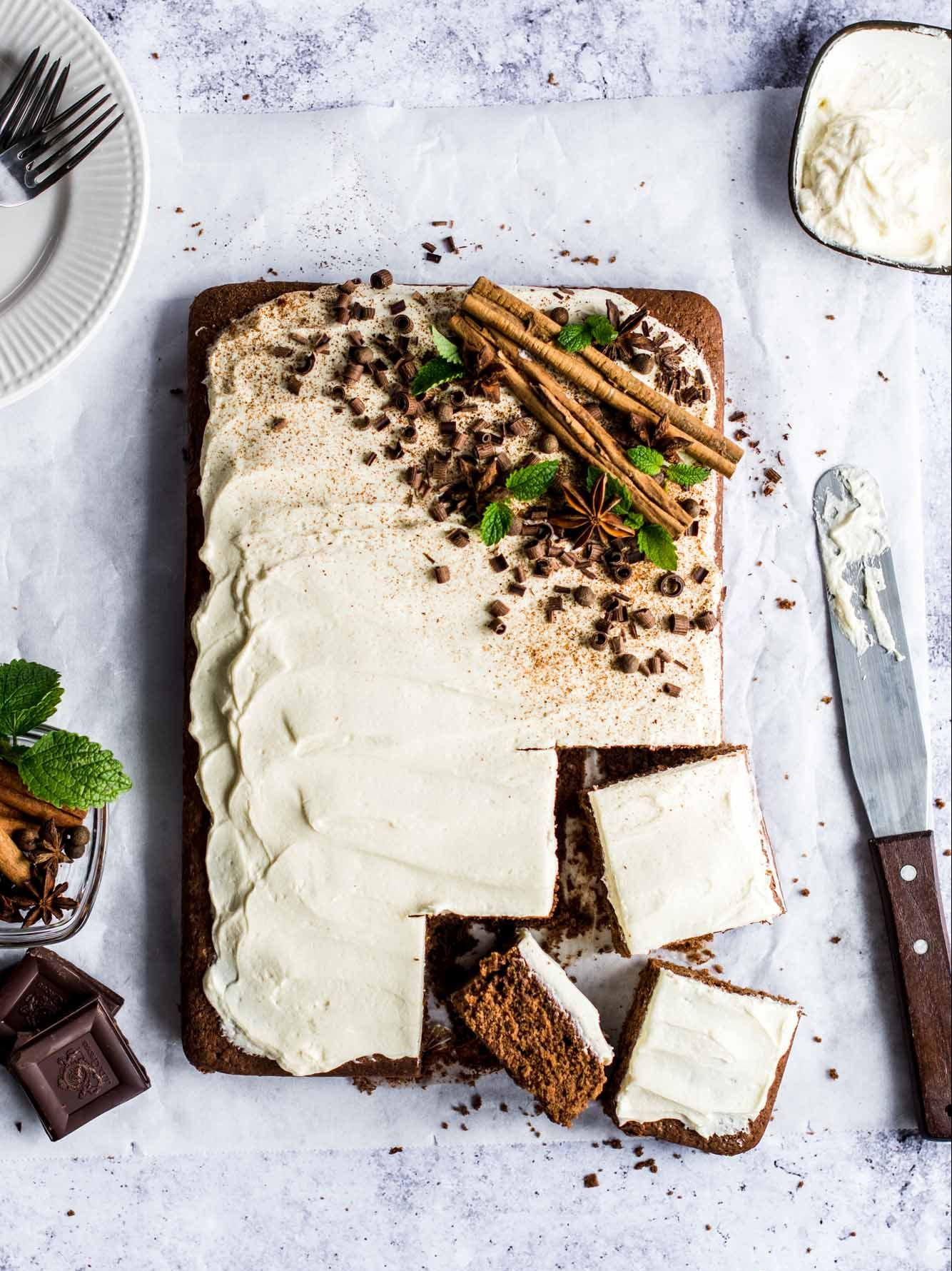 Spiced Chocolate Cake with Rum Frosting