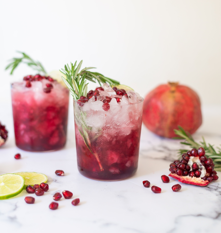 Rosemary Pomegranate Gin Sparkler