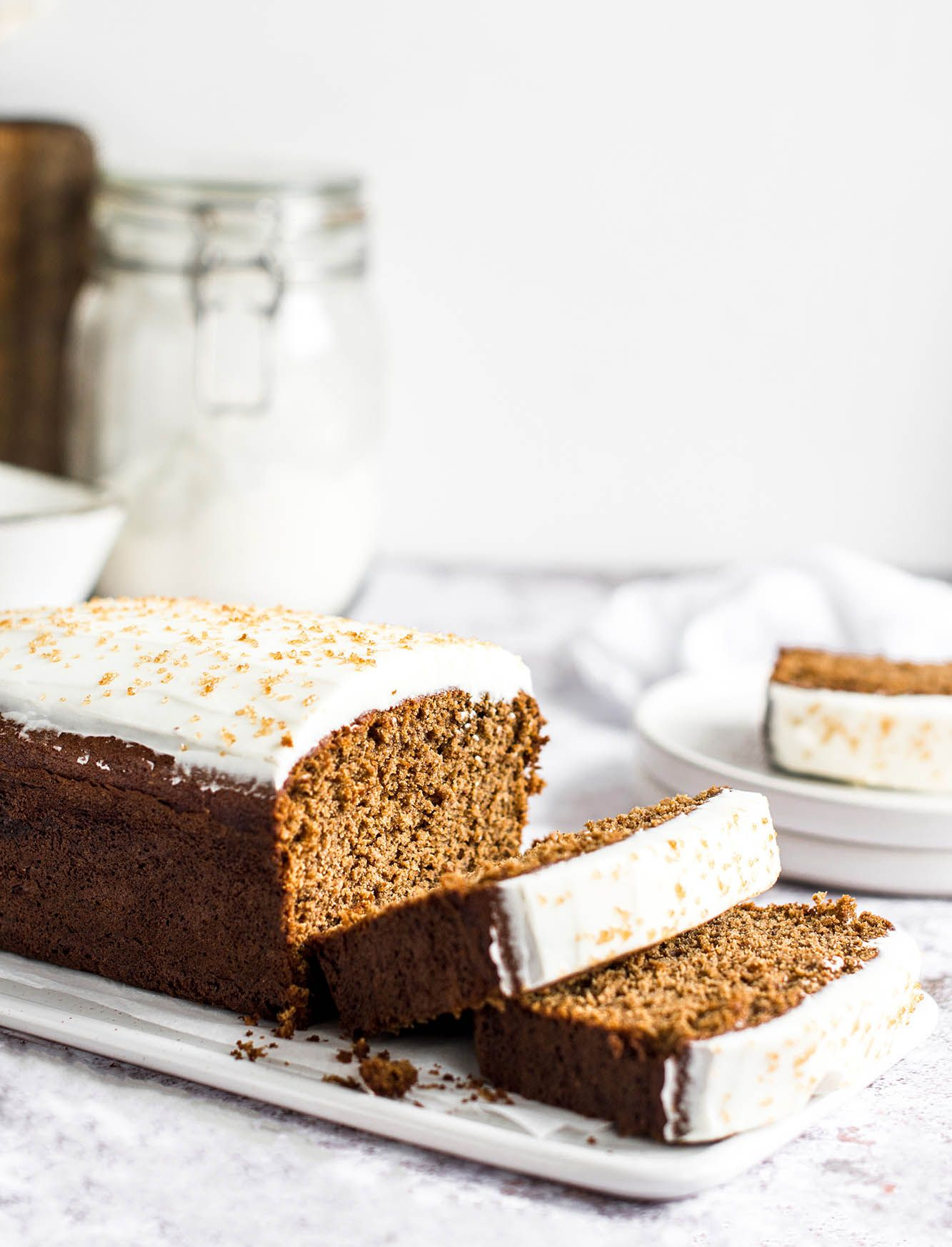 Gingerbread Loaf Cake with Mascarpone and Lemon Frosting