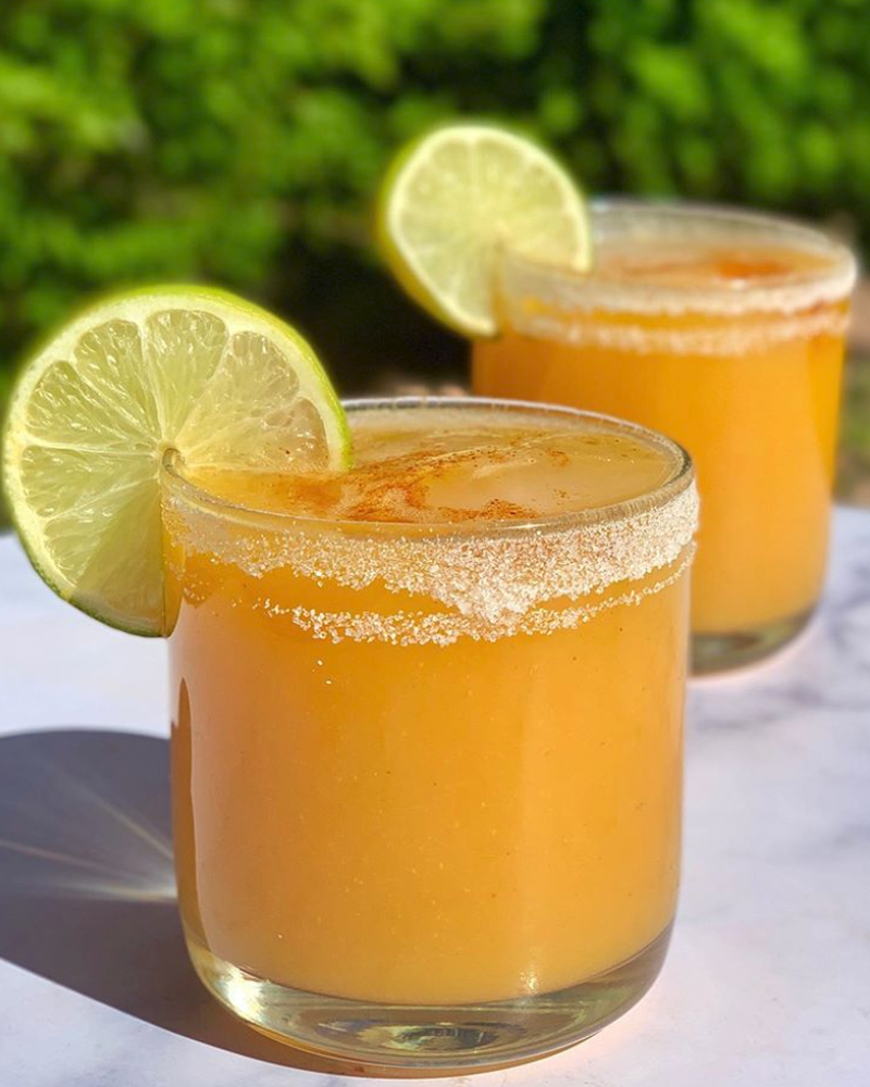 Spicy Mango Cocktail with  Tequila and Champagne