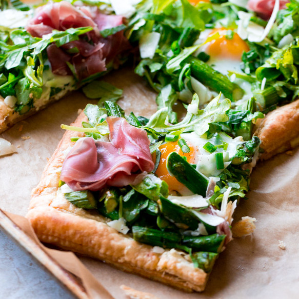 Savory Spring Tart with Asparagus, Egg, Arugula and Prosciutto