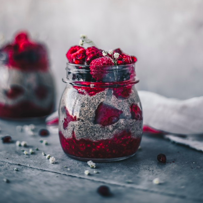 Raspberry Almond Butter Chia Pudding