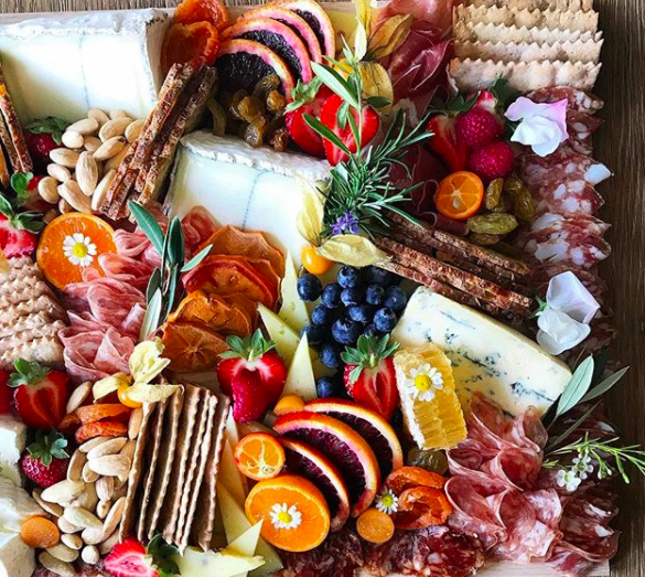 Meat And Cheese Board With Fresh Citrus And Honeycomb