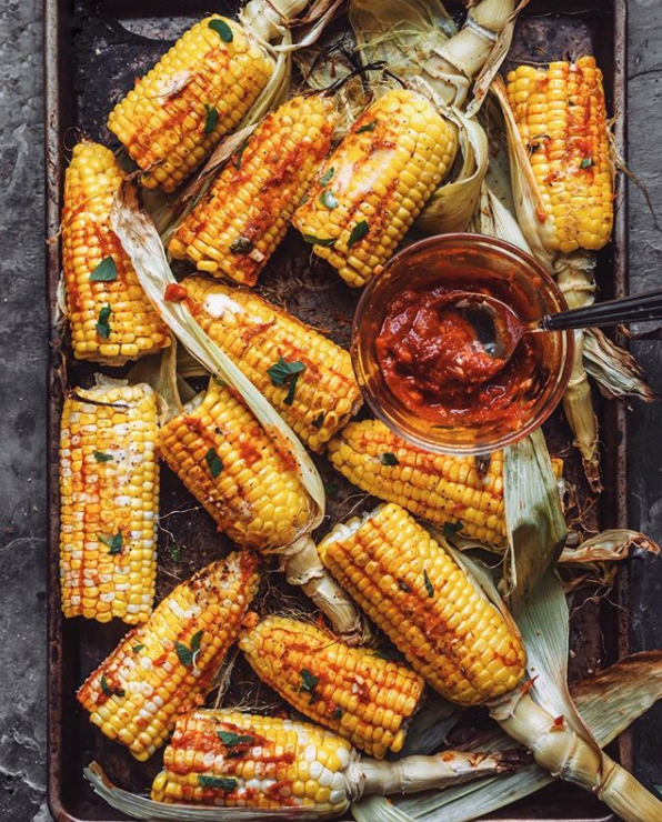 Oven Roasted Corn with Harissa & Mint