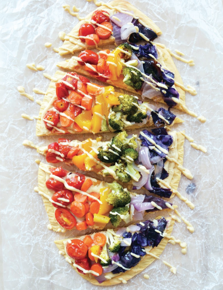 Chickpea Crust Rainbow Alfredo Pizza