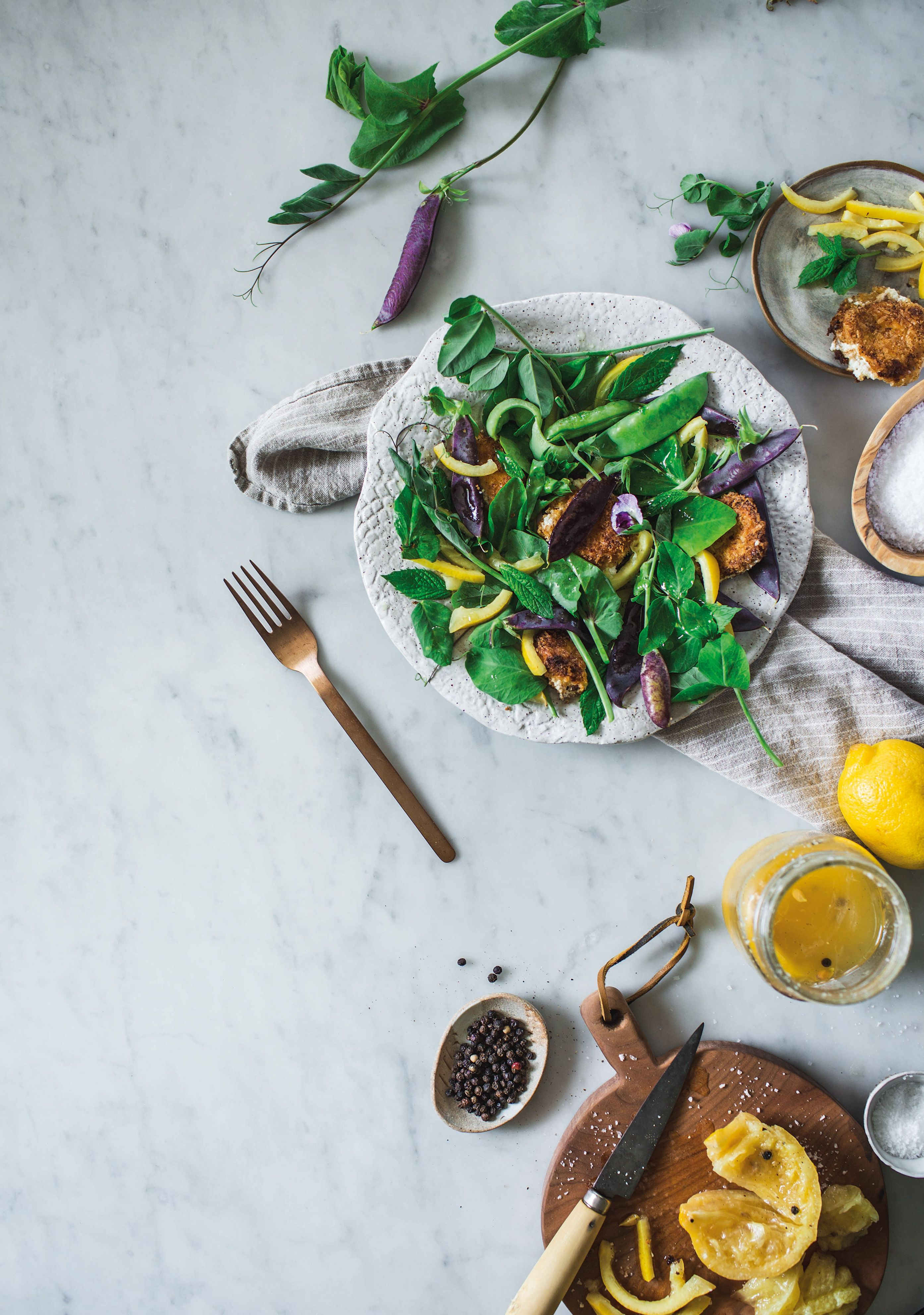 Snap Pea Salad with Preserved Lemon and Goat Cheese Medallions