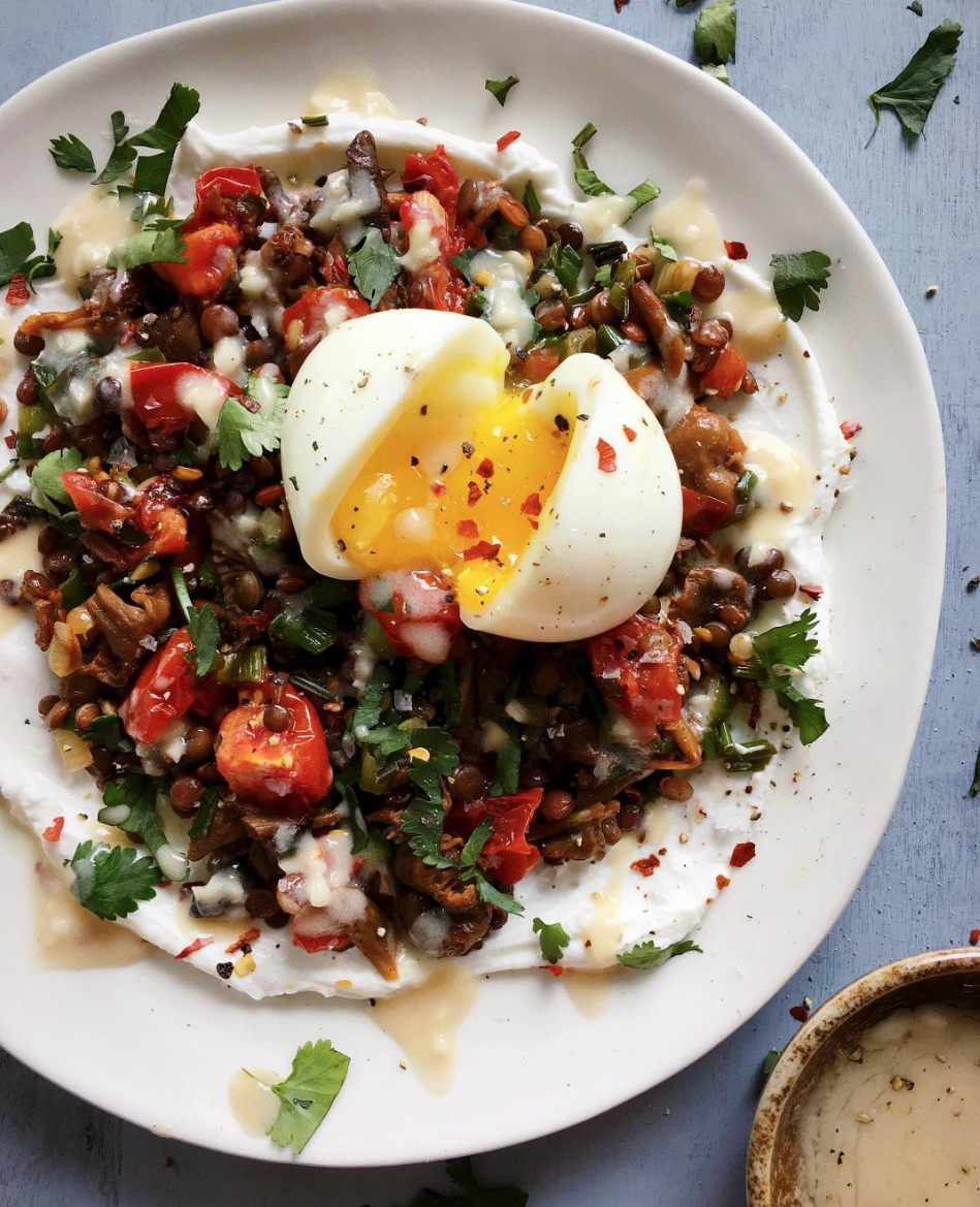 Garlicky Lentils and Tomatoes with a Soft Boiled Egg and Tahini-Honey Sauce