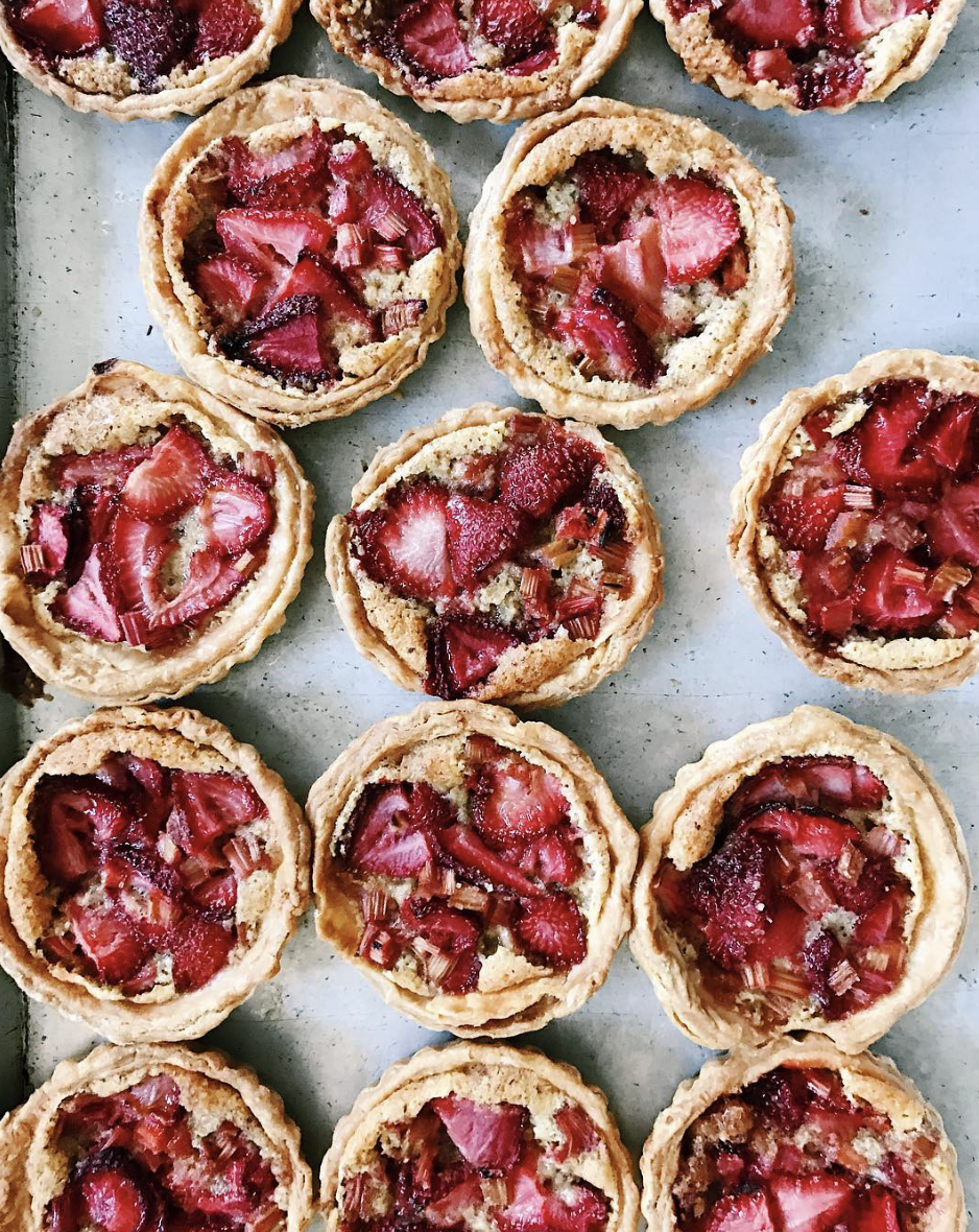 Strawberry Rhubarb Frangipane Tarts