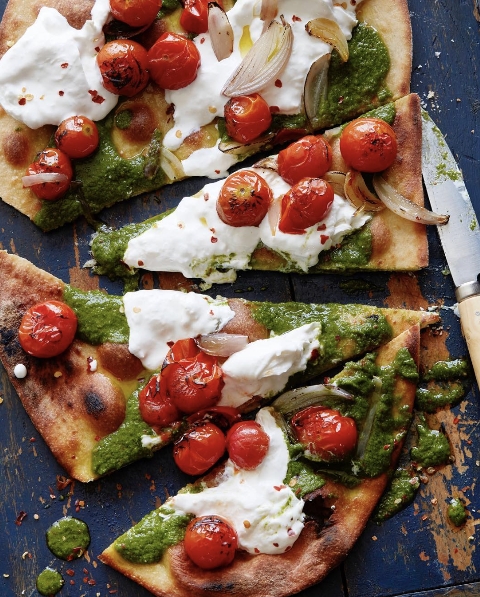 Basil Vinaigrette & Charred Tomato Pizza